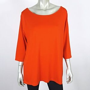 Lane Bryant Plus Size 22/24 Orange 3/4 Sleeve Top